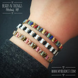 New! Zig-Zag Beaded Bracelet Kit with 2-Hole Glass Beads (Bronze & Mauve Color Mix)