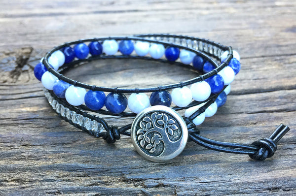 SALE! 6mm Sodalite, Blue Lace Agate & Glass Bead Leather Double Wrap Bracelet Kit (Semi-precious Stone)