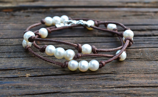 BEST SELLER! Knotted Leather & Freshwater Pearl Triple-Wrap Bracelet/Necklace Kit