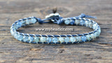 New! Kyanite Leather Wrap Bracelet Kit (5mm Semi-precious Stone)