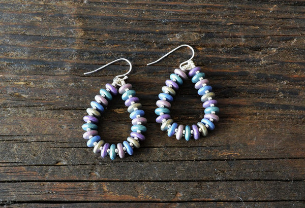 SOLD OUT! Earring Kit: 2-Hole Glass Lentils (Metallic Suede Pastels)