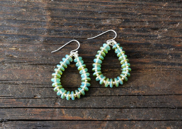 SOLD OUT! Earring Kit: 2-Hole Glass Lentils (Peridot)