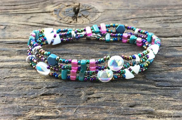 Mix It Up! NEW! Beaded Bracelet Kit with 2-Hole Glass Beads (Teal Pink White)
