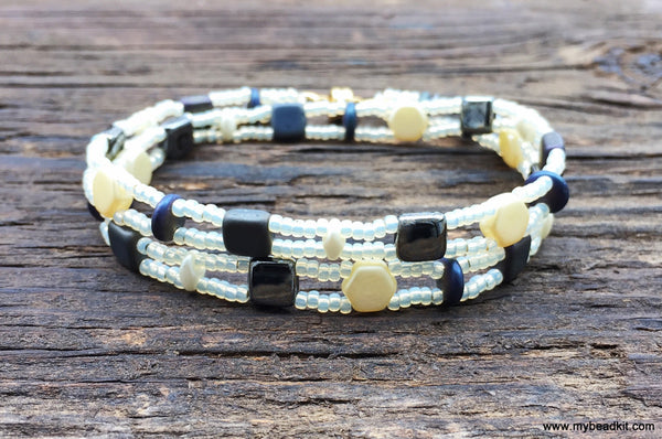 Mix It Up! NEW! Beaded Bracelet Kit with 2-Hole Glass Beads (Cream & Gray)