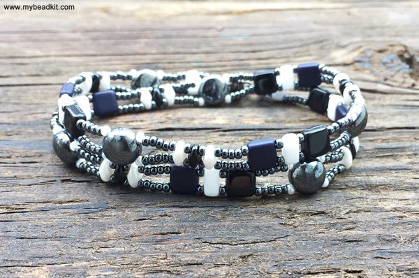 Mix It Up! NEW! Beaded Bracelet Kit with 2-Hole Glass Beads (White Black Navy Hematite)
