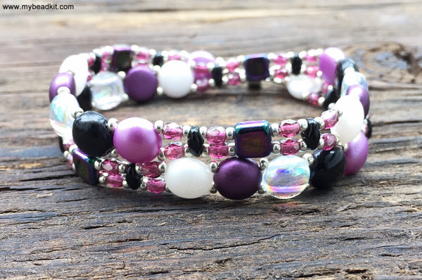 Mix It Up! NEW! Beaded Bracelet Kit with 2-Hole Glass Beads (Purple White Black)