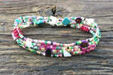 SALE! Mix It Up! Beaded Bracelet Kit with 2-Hole Glass Beads (Pink Teal Fiesta Color Mix)