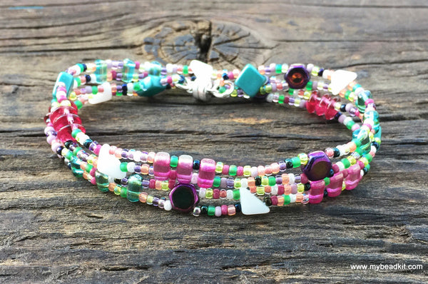 Mix It Up! NEW! Beaded Bracelet Kit with 2-Hole Glass Beads (Pink Teal Fiesta Color Mix)
