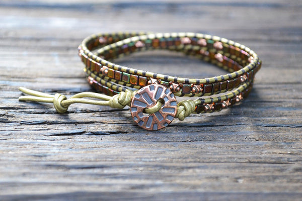 Glass Cube Wrap Bracelet Kit (Tiny 3mm glass beads in shiny brown iris) (Double Wrap)