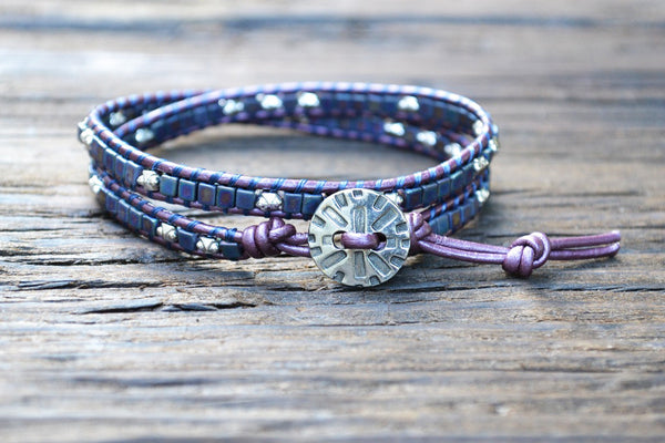 Glass Cube Wrap Bracelet Kit (Tiny 3mm glass beads in matte finish purple/blue tones) (Double Wrap)