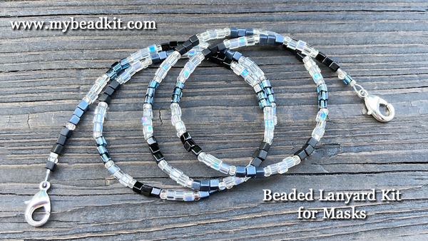 Beaded Lanyard Kit for Masks (Black/Gray/Silver)