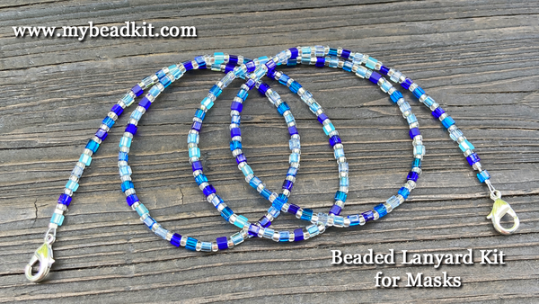 Beaded Lanyard Kit for Masks (Blue)