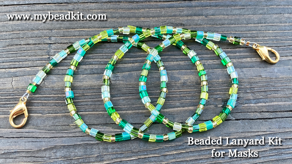 New! Beaded Lanyard Kit for Masks (Green)