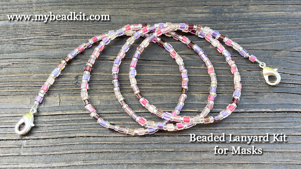 Beaded Lanyard Kit for Masks (Pink/Purple)
