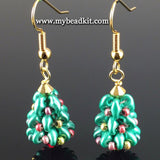 Beaded Holiday Tree Earrings (Gold)