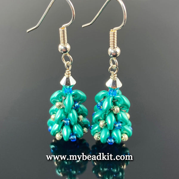 Beaded Holiday Tree Earrings (Silver)