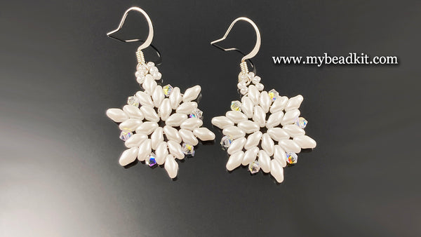 Beaded Snowflake Earrings (White)