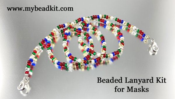 Beaded Lanyard Kit for Masks (Holiday Color Mix)