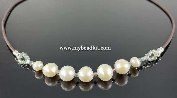 New! Freshwater Pearl Bead & Leather Necklace Kit