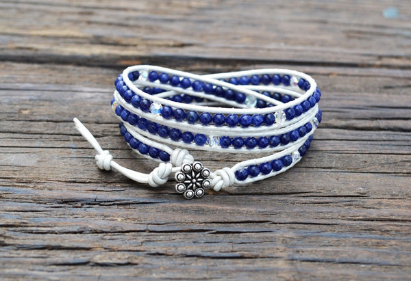 African Sodalite Leather Wrap Bracelet Kit (Triple wrap)