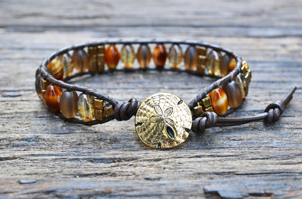 Sold Out! Oval Glass & Stacked Bead Leather Wrap Bracelet Kit! (Brown colorway)