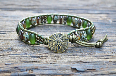 Oval Glass & Stacked Pewter Bead Leather Wrap Bracelet Kit! (Green colorway)