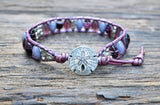 Oval Glass & Stacked Silver Plated Bead Leather Wrap Bracelet Kit! (Purple colorway)