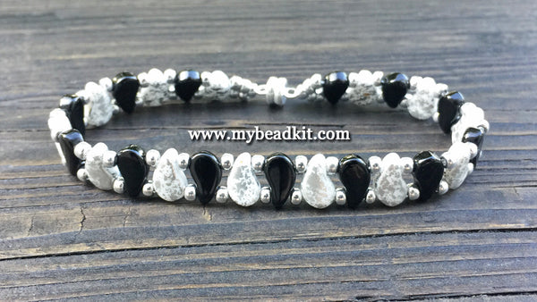 New! Paisley Beaded Bracelet Kit with 2-Hole Glass Beads (Black & White)