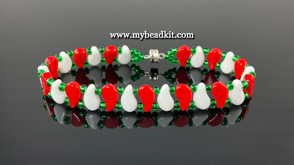 New! Paisley Beaded Bracelet Kit with 2-Hole Glass Beads (Holiday Colors)