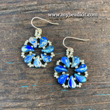 New! Pinwheel Earring Kit - 2-hole Glass Beads - Blue Picasso