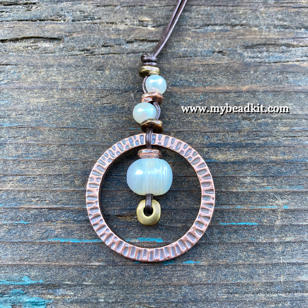 SALE!! Pearl Pendant Adjustable Necklace Kit (Antique copper ring)