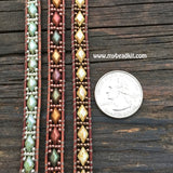 Diamond Elegance Leather Wrap Bracelet Kit - Diamond 2-hole Glass Beads - Ladder Stitch - Copper Color Mix