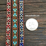 Southwest Leather Wrap Bracelet Kit - SuperDuo 2-hole Glass Beads - Ladder Stitch - Blue Color Mix