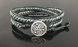 Double wrap bracelet using leather, 2-hole glass SuperDuo beads and a button closure