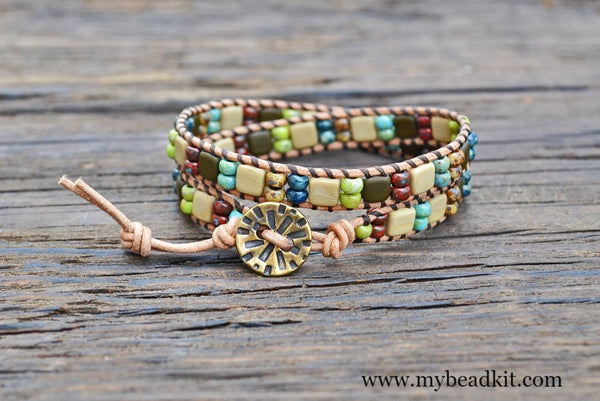 2-Hole Glass Tile & Stacked Picasso Seed Bead Double Wrap Bracelet Kit (Matte Beige/Brown Tiles & Picasso)