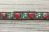Sparkle & Shine! Tile Bead Wrap Bracelet Kit with Seed Beads & Crystals (Red & Teal)