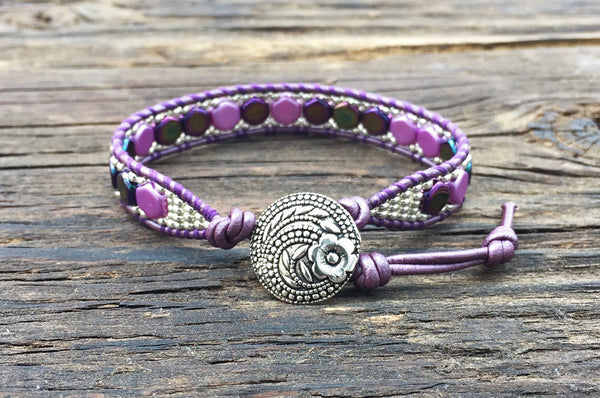 NEW! Hex Bead Leather Wrap Bracelet Kit - 2-hole Honeycomb Glass Beads - Seed Beads  - Ladder Stitch - Purple Color Mix