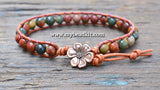 New! Red Creek Jasper Leather Wrap Bracelet Kit (6mm Semi-precious Stone)