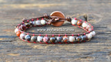 New! Red Silver Leaf Jasper Leather Wrap Bracelet Kit (6mm Semi-precious Stone)