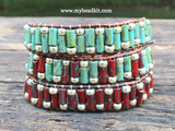 Earthy Glass Tube & Seed Bead Wrap Bracelet Kit (Red Color)