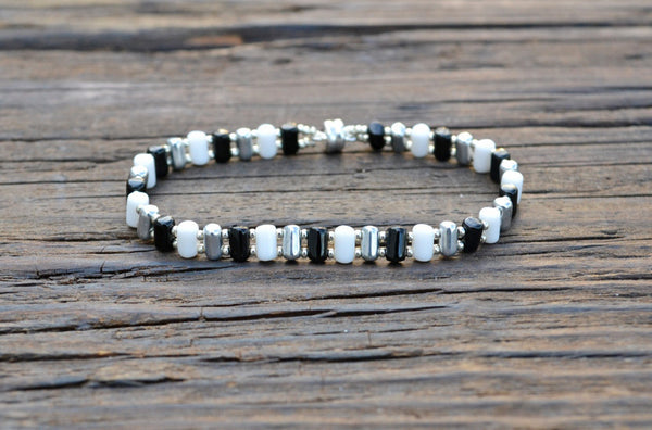Beaded Bracelet Kit: 2-Hole Glass Barrel Beads (Opaque White, Silver, & Jet Black)