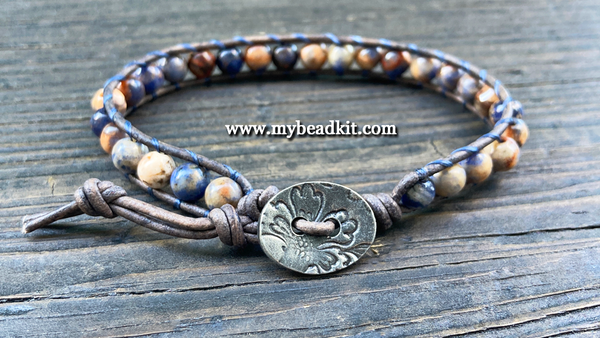 African Sodalite Leather Wrap Bracelet Kit (6mm Semi-precious Stone)