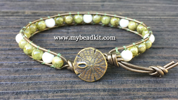 Green Garnet & Mother of Pearl Leather Wrap Bracelet Kit (6mm Semi-precious Stone)