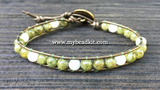 New! Green Garnet & Mother of Pearl Leather Wrap Bracelet Kit (6mm Semi-precious Stone)