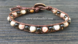 New! Smoky Quartz & Mexican Agate Leather Wrap Bracelet Kit (6mm Semi-precious Stone)