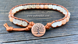 New! Ombre Moonstone Leather Wrap Bracelet Kit (6mm Semi-precious Stone)