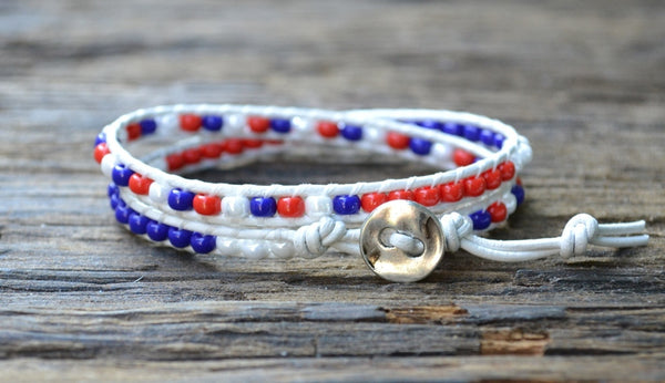 SALE! Patriotic Red, White & Blue Seed Bead & Leather Double Wrap Bracelet