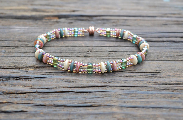 Beaded Bracelet Kit: 2-Hole Glass Lentil & Barrel Beads (Cream, Rose, Matte Dark Turquoise)