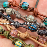 Boho Chic Glass Bead & Knotted Leather Bracelet Kit (Turquoise & Copper)