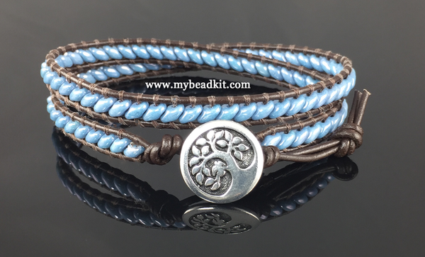 Leather Wrap Bracelet Kit - Double Wrap - Superduo 2-hole Glass Beads - Ladder Stitch - Sky Blue